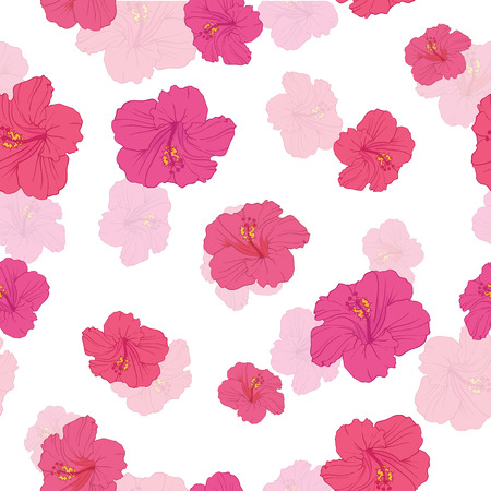 Pink hibiscus flowers seamless repeat pattern. Great for summer exotic wallpaper, backgrounds, packaging, fabric, and giftwrap projects. Surface pattern design.