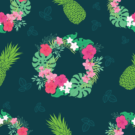 Tropical orchid hibiscus flowers wreath pattern. Great for summer exotic wallpaper, backgrounds, packaging, fabric, and giftwrap projects. Surface pattern design.