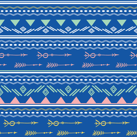 Blue pink tribal arrows seamless pattern. Great for folk modern wallpaper, backgrounds, invitations, packaging design projects. Surface pattern design. Stock Photo