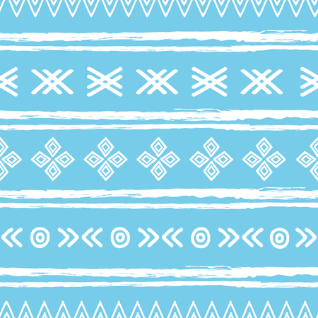 Blue and white ikat tribal seamless pattern. Great for folk modern wallpaper, backgrounds, invitations, packaging design projects. Surface pattern design.