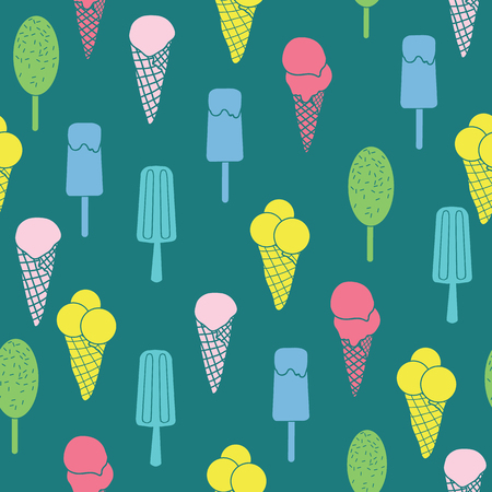 Colorful ice cream and stars seamless pattern. Great for yummy summer dessert wallpaper, backgrounds, packaging, fabric, scrapbooking, and giftwrap projects. Surface pattern design. Stock Photo