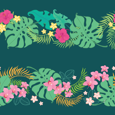 Tropical flowers seamless horizontal border. Great for summer exotic wallpaper, backgrounds, packaging, fabric, and giftwrap projects. Surface pattern design.