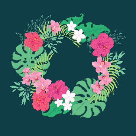Tropical orchid hibiscus flowers wreath. Great for summer exotic wallpaper, backgrounds, packaging, fabric, and giftwrap projects.