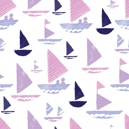 Purple pink tribal boats repeat pattern design. Great for folk modern wallpaper, backgrounds, invitations, packaging design projects. Surface pattern design. Stock Photo
