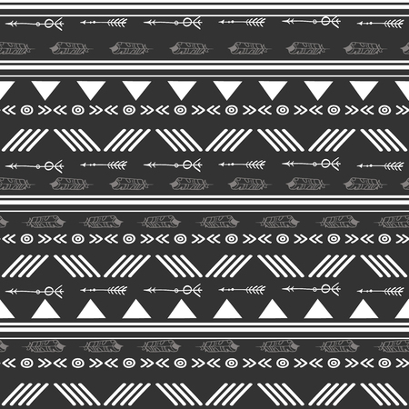 Tribal black and white seamless repeat pattern. Great for folk modern wallpaper, backgrounds, invitations, packaging design projects. Surface pattern design.