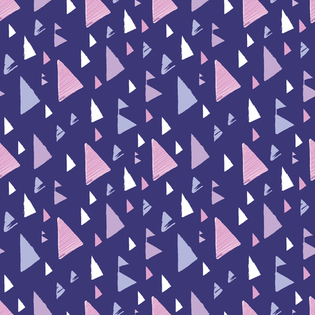 Purple pink tribal triangles repeat pattern design. Great for folk modern wallpaper, backgrounds, invitations, packaging design projects. Surface pattern design. Stock Photo