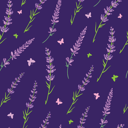 Purple lavender repeat pattern design. Great for springtime modern fabric, wallpaper, backgrounds, invitations, packaging design projects. Surface pattern design. Stock Photo