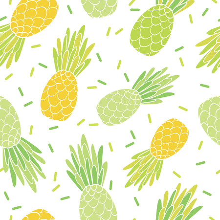 Green yellow pineapples repeat pattern design. Great for summer vacation modern fabric, wallpaper, backgrounds, invitations, packaging design projects. Surface pattern design.
