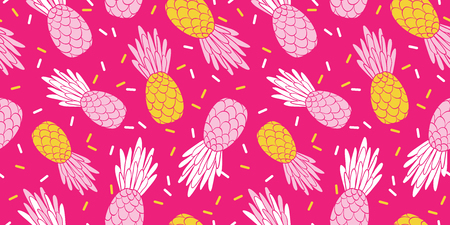 Pink yellow pineapples repeat pattern design. Great for summer vacation modern fabric, wallpaper, backgrounds, invitations, packaging design projects. Surface pattern design. Stock Photo