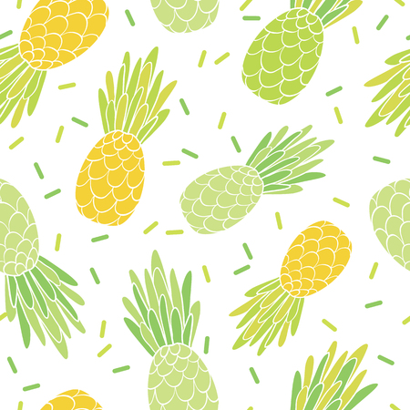 Green yellow pineapples repeat pattern design. Great for summer vacation modern fabric, wallpaper, backgrounds, invitations, packaging design projects. Surface pattern design. Stock Photo