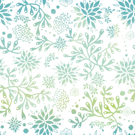 Blue green nautical seaweed seamless pattern. Great for marine inspired fabric, invitations, wallpaper, giftwrap projects. Vector Illustratie