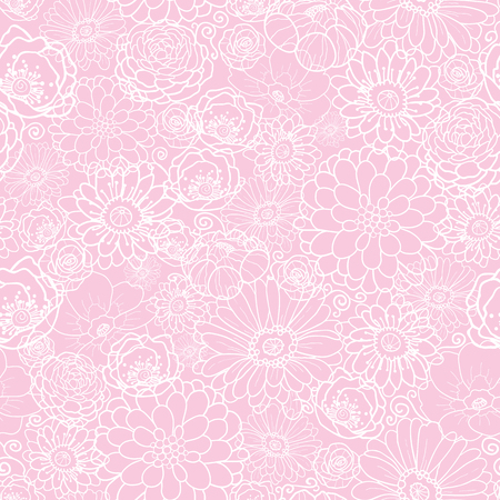 Pink flowers texture vector seamless pattern. Great for spring and summer wallpaper, backgrounds, invitations, packaging design projects. Surface pattern design.