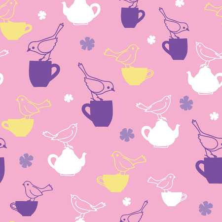 Pink birds and teapots vector repeat pattern. Great for cafe and teahouse wallpaper, backgrounds, invitations, packaging design projects. Surface pattern design.