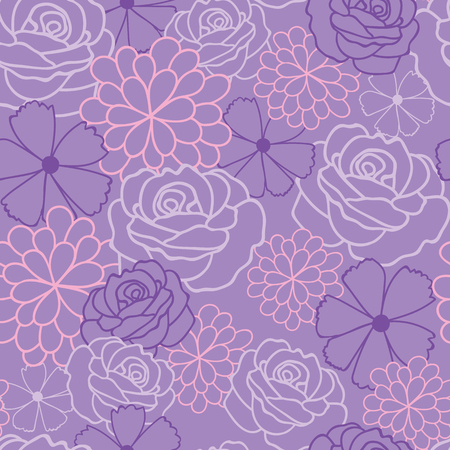 Purple flowers texture vector seamless pattern. Great for spring and summer wallpaper, backgrounds, invitations, packaging design projects. Surface pattern design. Illustration