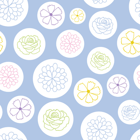 colorful flowers in bubbles vector repeat pattern. Great for spring and summer wallpaper, backgrounds, invitations, packaging design projects. Surface pattern design. Stock Photo