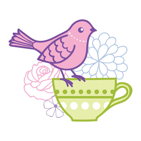 Bird on a teacup vector illustration. Great for tea party invitations, outside wedding invitations, and cafe decor.