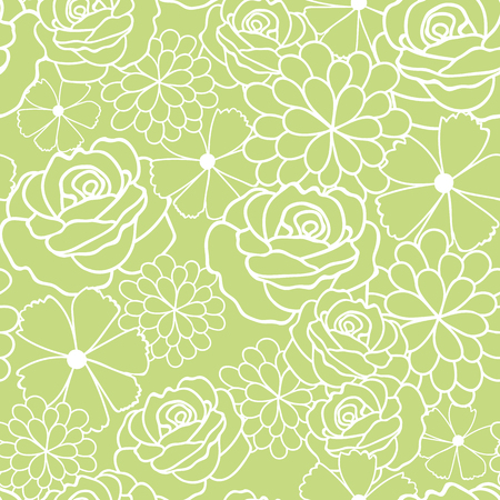 Green flowers texture vector seamless pattern. Great for spring and summer wallpaper, backgrounds, invitations, packaging design projects. Surface pattern design.