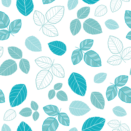 Blue leaves vector repeat pattern. Great for spring and summer wallpaper, backgrounds, invitations, packaging design projects. Surface pattern design.