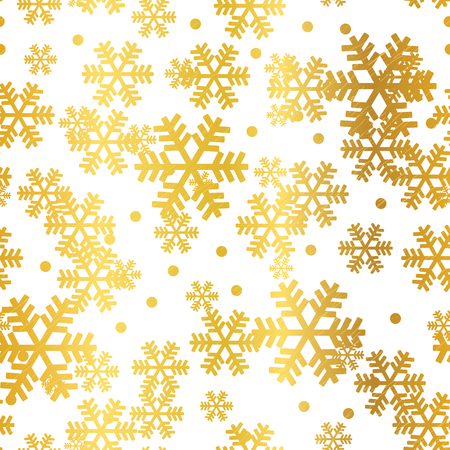 Golden Christmas snowflakes seamless pattern. Great for winter holidays wallpaper, backgrounds, invitations, packaging design projects. Surface pattern design. Stok Fotoğraf