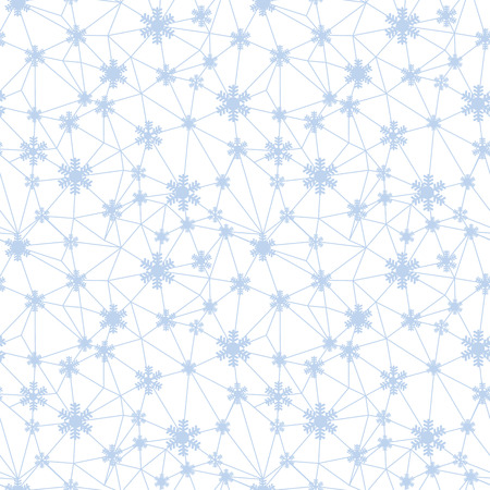 Web of Christmas snowflakes net seamless pattern. Great for winter holidays wallpaper, backgrounds, invitations, packaging design projects. Surface pattern design.