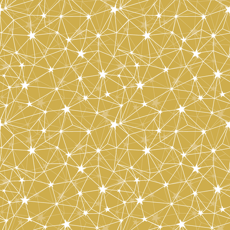 Yellow stars network vector seamless pattern. Great for space and holiday inspired wallpaper, backgrounds, invitations, packaging design projects. Surface pattern design. Stock Photo