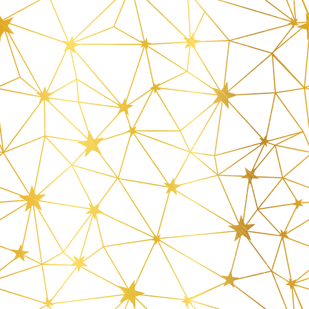 Gold white stars network vector seamless pattern. Great for space and holiday inspired wallpaper, backgrounds, invitations, packaging design projects. Surface pattern design.