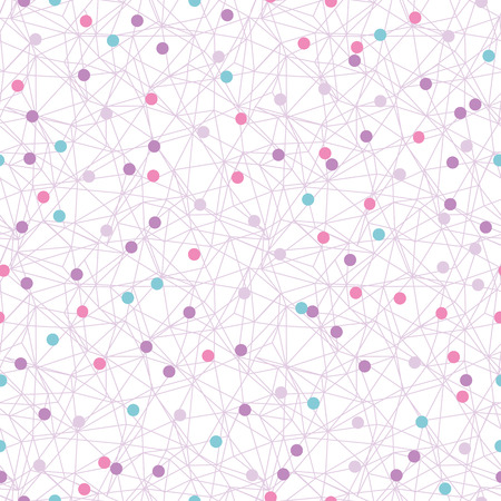 Colorful dots network texture seamless pattern. Great for technology inspired wallpaper, backgrounds, invitations, packaging design projects. Surface pattern design. Stock Photo
