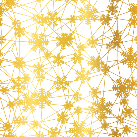 Golden Christmas snowflakes net seamless pattern. Great for winter holidays wallpaper, backgrounds, invitations, packaging design projects. Surface pattern design.