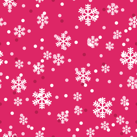 Red white Christmas snowflakes seamless pattern. Great for winter holidays wallpaper, backgrounds, invitations, packaging design projects. Surface pattern design.