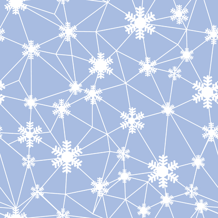 Web of Christmas snowflakes seamless pattern. Great for winter holidays wallpaper, backgrounds, invitations, packaging design projects. Surface pattern design.