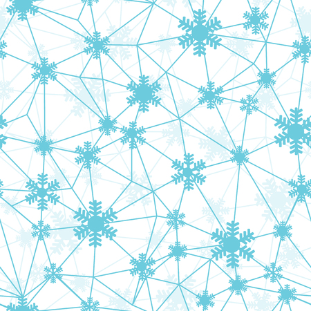 Blue Christmas snowflakes network seamless pattern. Great for winter holidays wallpaper, backgrounds, invitations, packaging design projects. Surface pattern design.
