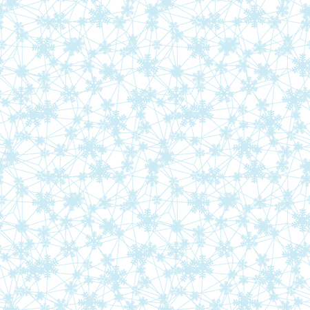 Web of blue Christmas snowflakes seamless pattern. Great for winter holidays wallpaper, backgrounds, invitations, packaging design projects. Surface pattern design.