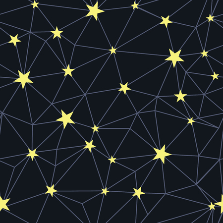 Black yellow stars network seamless pattern. Great for space inspired wallpaper, backgrounds, invitations, packaging design projects. Surface pattern design.