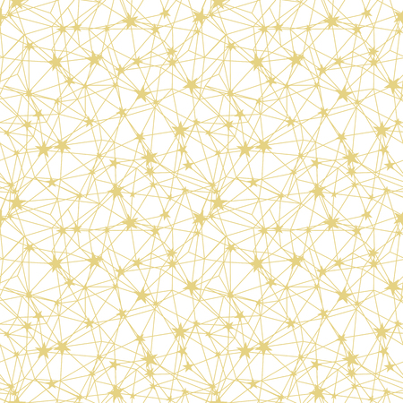 Golden yellow stars network seamless pattern texture. Great for space inspired wallpaper, backgrounds, invitations, packaging design projects. Surface pattern design.