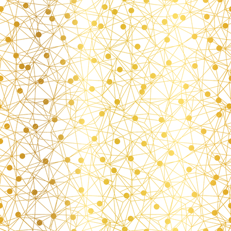 Golden dots network vector seamless pattern. Great for technology inspired wallpaper, backgrounds, invitations, packaging design projects. Surface pattern design. Stock Photo