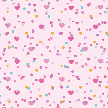 Colorful confetti hearts seamless repeat pattern. Great for Valentines Day or wedding invitations, cards, backgrounds, gifts, packaging design projects. Surface pattern design. Stock Photo