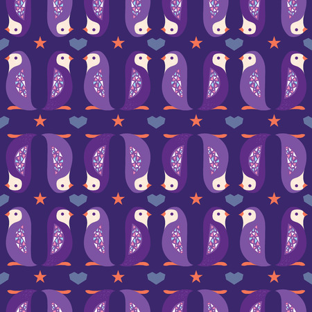Purple folk penguins stripes seamless pattern. Great for modern folk nursery holidays wallpaper, backgrounds, invitations, packaging design projects. Surface pattern design.