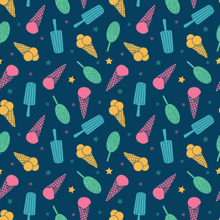 Dark blue ice cream and candy seamless pattern. Great for yummy summer dessert wallpaper, backgrounds, packaging, fabric, scrapbooking, and giftwrap projects. Surface pattern design.