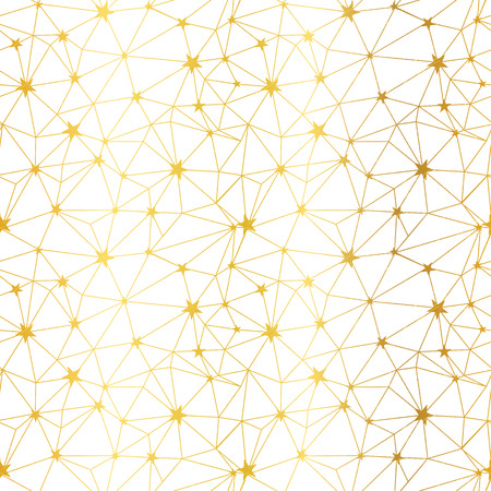 Golden white stars network vector seamless pattern. Great for space and holiday inspired wallpaper, backgrounds, invitations, packaging design projects. Surface pattern design. Illustration