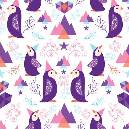 Colorful penguins in Santa hats seamless pattern. Great for winter holidays wallpaper, backgrounds, invitations, packaging design projects. Surface pattern design. Ilustrace