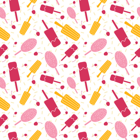 Pink and yellow ice cream seamless pattern. Great for yummy summer dessert wallpaper, backgrounds, packaging, fabric, scrapbooking, and giftwrap projects. Surface pattern design.
