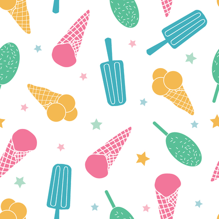 Colorful ice cream seamless pattern. Great for yummy summer dessert wallpaper, backgrounds, packaging, fabric, scrapbooking, and giftwrap projects. Surface pattern design.