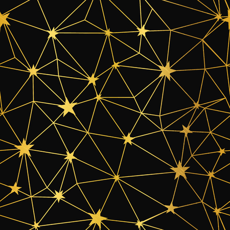 Gold black stars network vector seamless pattern. Great for space and holiday inspired wallpaper, backgrounds, invitations, packaging design projects. Surface pattern design.