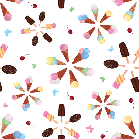 Ice cream color bursts vector seamless pattern. Great for yummy summer dessert wallpaper, backgrounds, packaging, fabric, scrapbooking, and giftwrap projects. Surface pattern design. Illustration