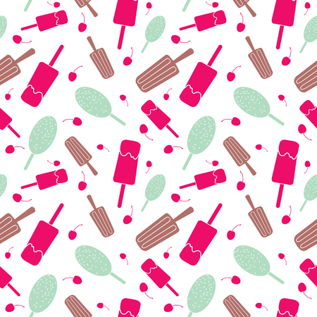 Ice cream and stars seamless pattern. Great for yummy summer dessert wallpaper, backgrounds, packaging, fabric, scrapbooking, and giftwrap projects. Surface pattern design.