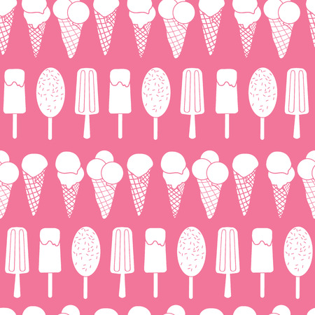 Pink ice cream stripes seamless pattern. Great for yummy summer dessert wallpaper, backgrounds, packaging, fabric, scrapbooking, and giftwrap projects. Surface pattern design.
