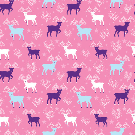 Pink winter reindeer folk vector seamless pattern. Great for winter holidays traditional wallpaper, backgrounds, gifts, packaging design projects. Surface pattern design. Illustration