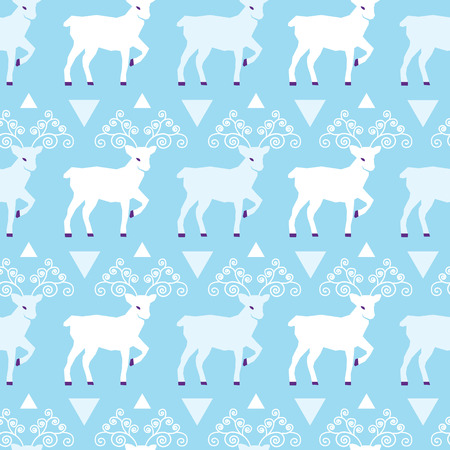 Blue winter reindeer folk vector seamless pattern. Great for winter holidays traditional wallpaper, backgrounds, gifts, packaging design projects. Surface pattern design. Illustration