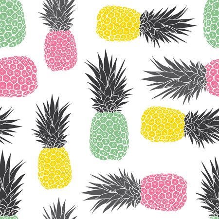Cute pastel geometric pineapples vector pattern background. Great as a summer textile print, party invitation or packaging. Surface pattern design.