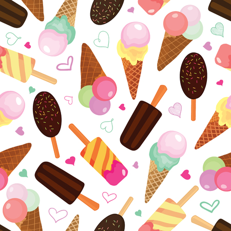 Set of ice creams seamless pattern. Great for yummy summer dessert wallpaper, backgrounds, packaging, fabric, scrapbooking, and giftwrap projects. Surface pattern design.